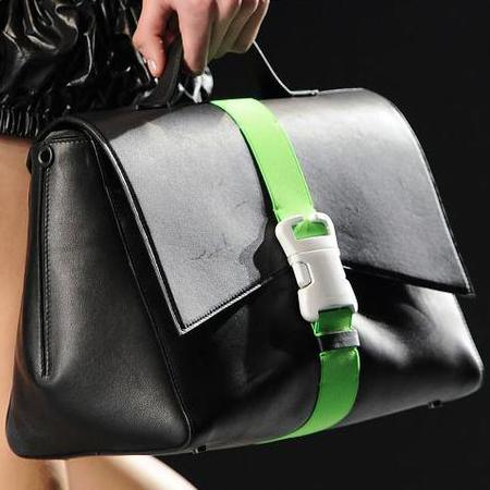 christopher kane - debut handag collection - london fashion week aw14 - black bag with green buckle - handbag.com