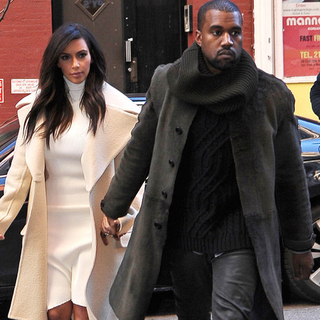 kim kardashian and kanye west in matching clothes - handbag.com