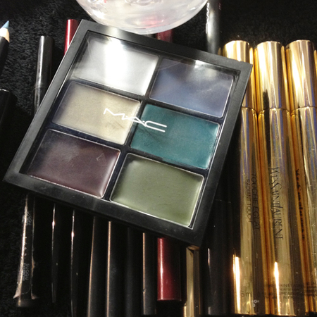makeup used backstage at london fashion week - mac cream eyeshadow in green and mauve purple - handbag.com