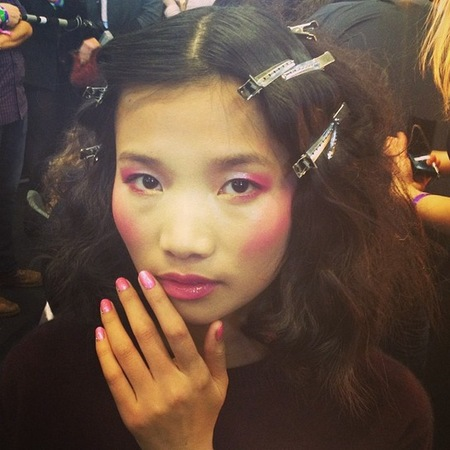 pink eye shadow and pink blush at ashish london fashion week show - how to wear pink makeup trend - handbag.com
