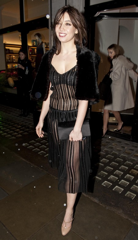 Daisy Lowe's black sheer dress