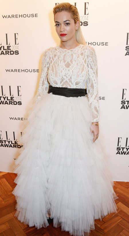 elle style awards - rita ora white wedding dress - celebrity fashion trend - handbag.com