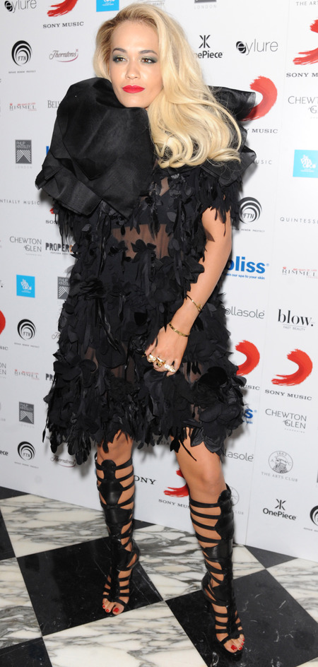 rita ora fluffy black dress - brits 2014 after party - celebrity fashion - handbag.com