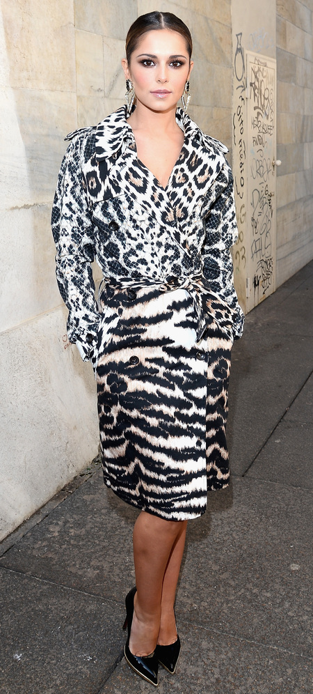 cheryl cole roberto cavalli animal print dress - milan fashion week autumn winter 2014 - handbag.com