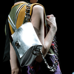 silver prada handbag - carrying handbag like a backpack or rucksack - milan fashion week aw14 - designer handbag trends - handbag.com
