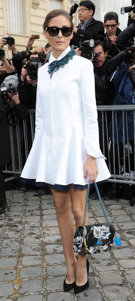 Olivia Palermo's white blouse dress at PFW