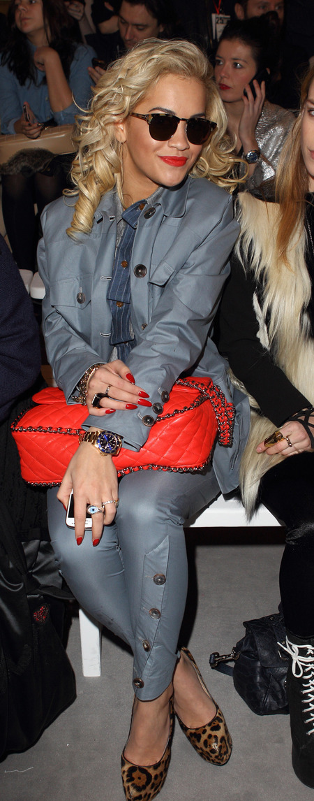 Rita Ora and her classic red quilted Chanel bag
