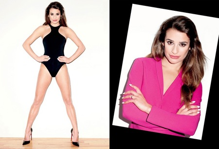 Lea Michele - terry richardson shoot - black leotard - v magazine - handbag.com