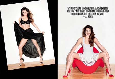Lea Michele - terry richardson - black bra - open legs - v magazine - handbag.com