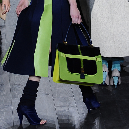 Lime green handbag details at Vionnet