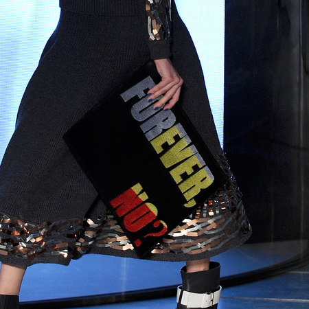 Slogan clutch at Kenzo