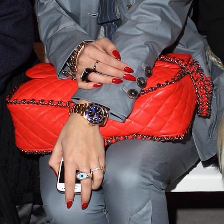 rita ora red chanel bag and matching manicure - celebrities on the front row - handbag.com
