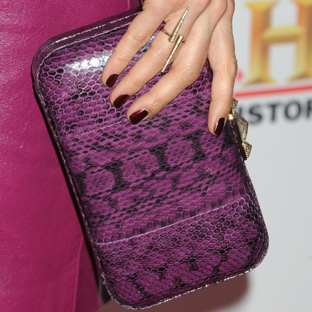 stacy kiebler purple nails and clutch bag - matching your manicure and bag trend - handbag.com