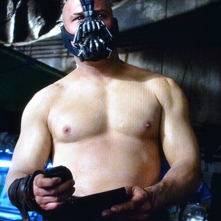 Tom Hardy as Bane in Batman - topless Tom Hardy - hairless celebrity men - topless celebrity men pics - muscles - celeb news - handbag.com