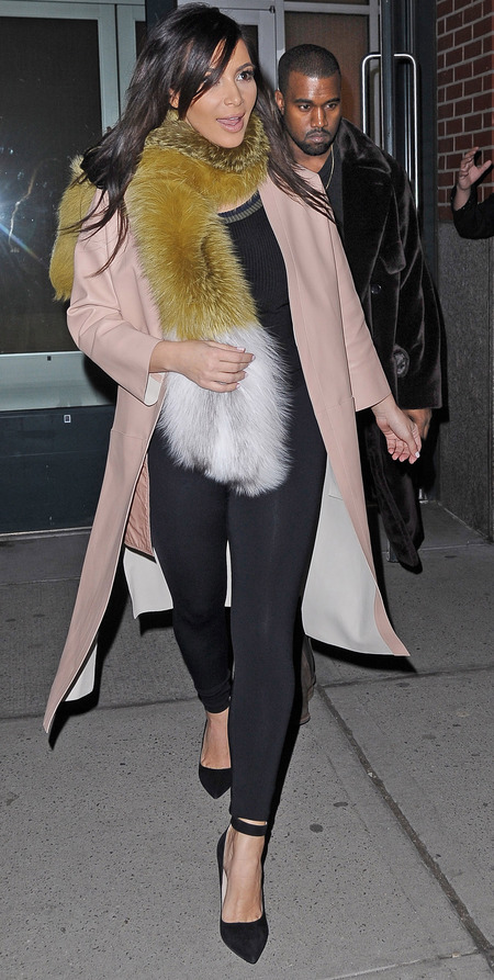 kim kardashian wearing fur - fox fur scarf stole - celebrities wearing fur - handbag.com