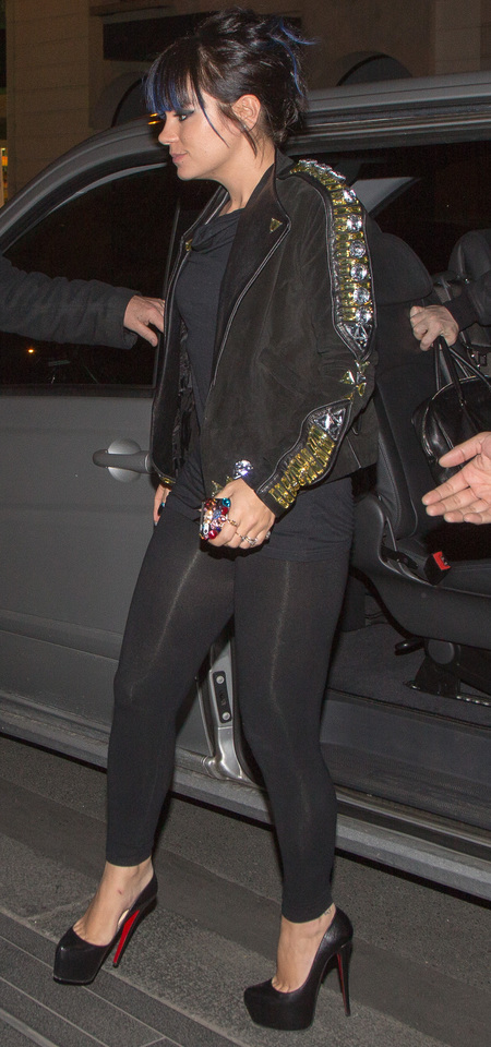 lily allen in leggings and givenchy jacket - paris fashion week autumn winter 2014 - sports luxe trend - handbag.com