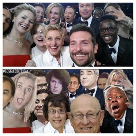 gogglebox - selfie - oscars selfie - ellen - channel 4 - handbag.com