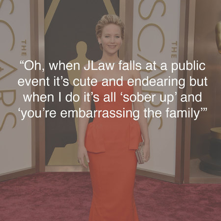 Jennifer Lawrence at the Oscars - funniest tweets - Oscars photos - best Oscars tweets - celebrity news - handbag.com