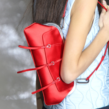 Miu Miu - paris fashion week - autumn winter 2014 - handbag collection - red satin bag - handbag.com