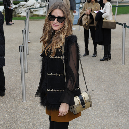 Olivia Palermo at Paris Fashion Week 2014 - Chloe Bronte handbag - chloe AW14 show - paris fashion week - 2014 - celeb fashion news - handbag.com