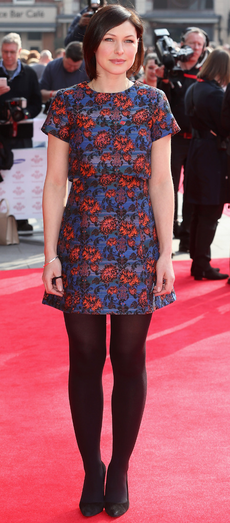 emma willis wearing tights on red carpet - emma willis fashion and style - celebrity floral print dress trend - handbag.com
