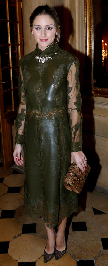Olivia Palermo's green leather and lace dress