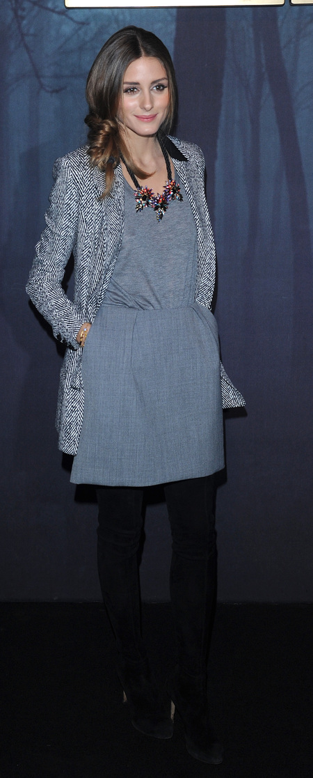 Olivia Palermo's grey jersey dress