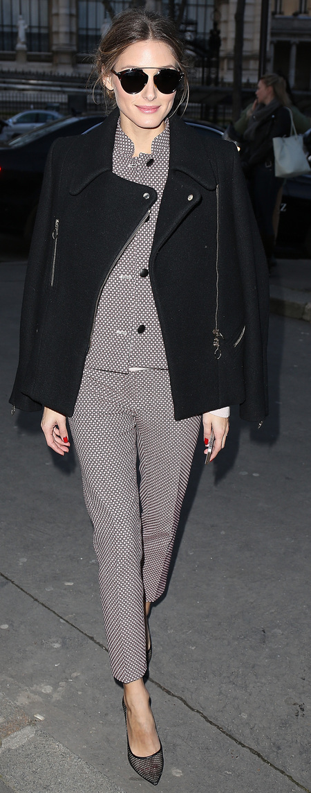 Olivia Palermo's fawn checked suit and aviator sunnies