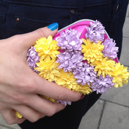 DIY Fashion Fix - how to make a burberry style flower clutch bag - finished bag - handbag.com