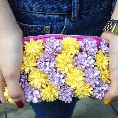 DIY Fashion Fix - how to make a Burberry style flower clutch bag - finished face on - handbag.com