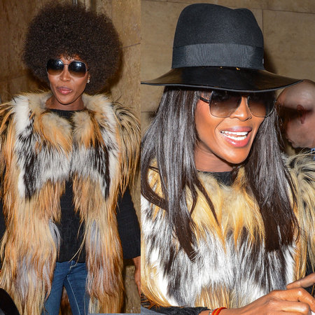 Naomi Campbell's hair wigs - two different wigs in one day - afro or long and sleek hairstyle- celebrity hairstyles - handbag.com