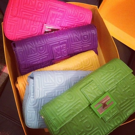 pixie lott colourful clutch bag collection - collection of classic fendi baguette bags - spring summer designer handbags - handbag.com