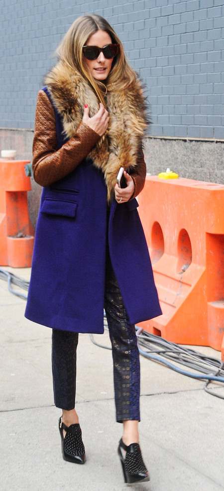 Olivia palermo's purple and tan coat