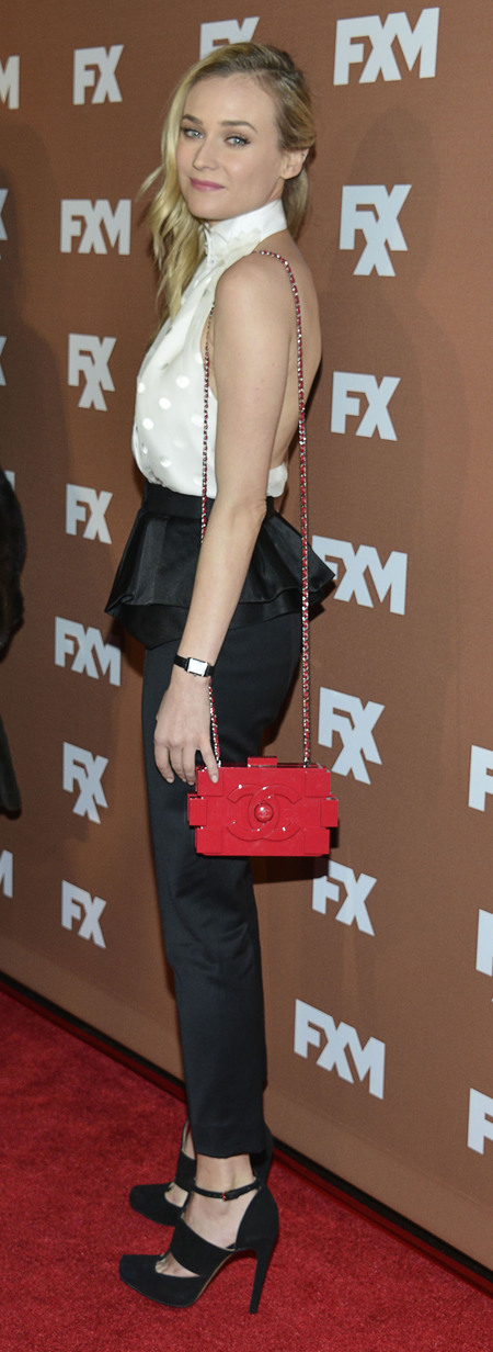 Diane Kruger and her Chanel Lego clutch