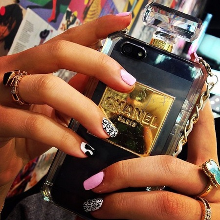 chanel perfume bottle phone case - wah nails - designer phone case trend - handbag.com