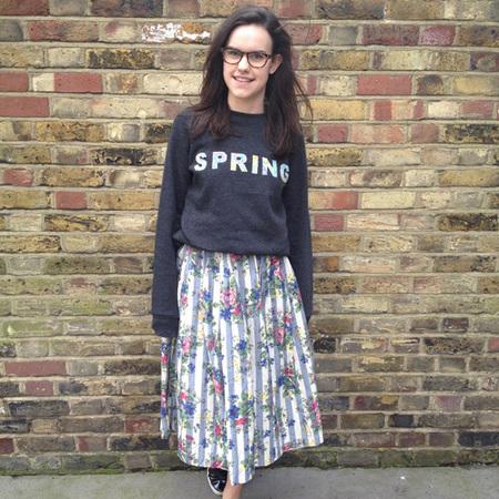 DIY Fashion fix - how to make slogan flower sweatshirt - finished full length - handbag.com