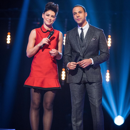 Emma Willis hair on the voice - quiff - red dress - knockouts - handbag.com