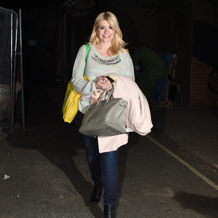 Holly Willoughby with Hermes bag after filming celebrity juice - this morning - christine bleakley twitter reactions - itv - celeb fashion news - handbag.com