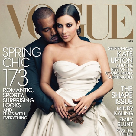 kim kardashian and kanye west vogue cover april 2014 - wedding dress - celebrity couples vogue cover - handbag.com