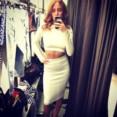 millie mackintosh dressing like kim kardashian - wuite crop top and midi skirt - celerbity fashion trends - handbag.com