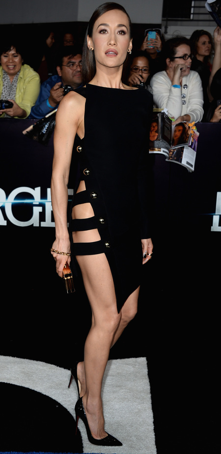 actress maggie q at divergent premiere - celebrities get naked to get noticed - revealing celebrity dresses - handbag.com