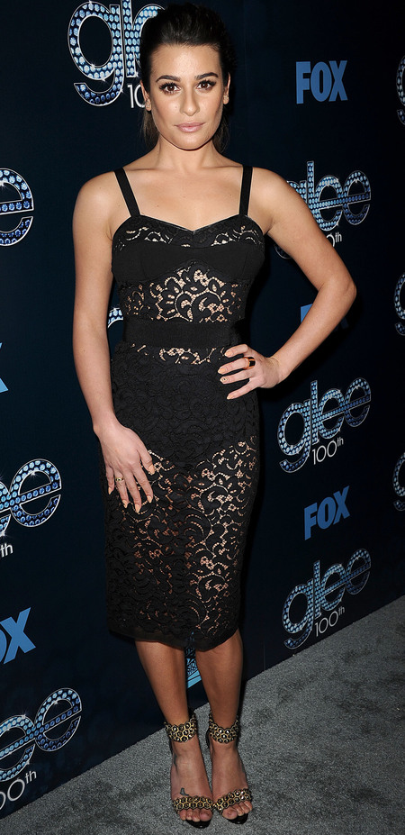 lea michele no makeup look - contouring makeup - see through black lace dress - handbag.com