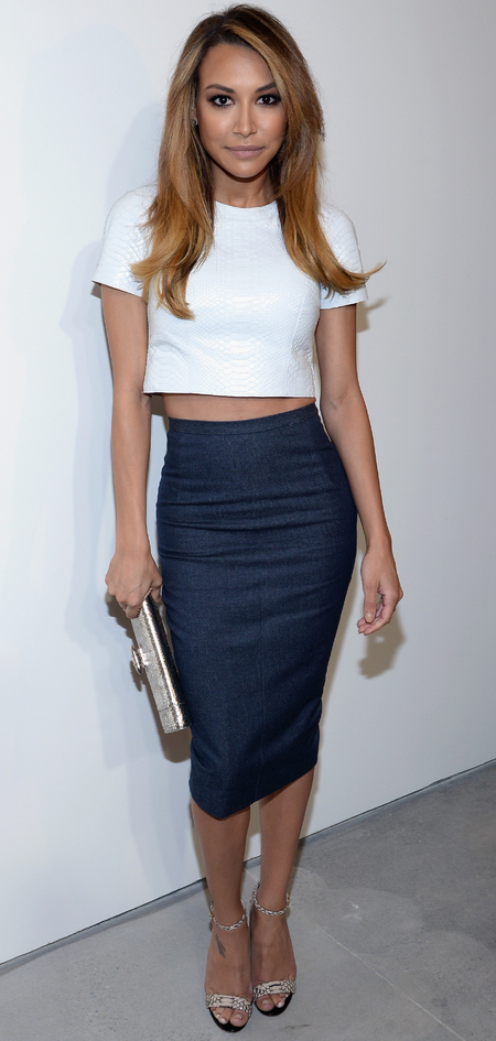 glee actress naya rivera - kim kardashian style hair crop top and midi skirt - celebrity fashion trends - handbag.com