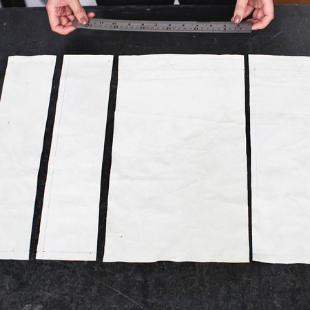 How to make a slouchy leather clutch bag - cut panels - diy fashion fix - adorn - handbag.com