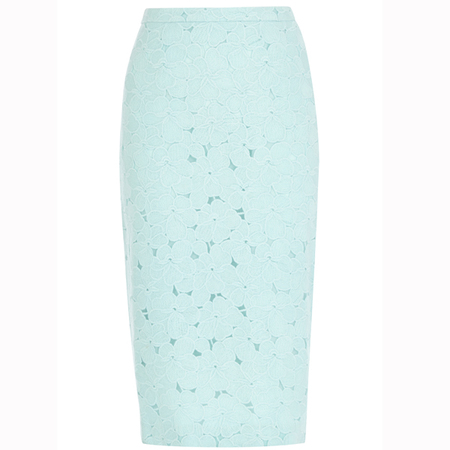 pastel green lace pencil skirt - warehouse - how to wear pastel trend - spring 2014 fashion trend - handbag.com