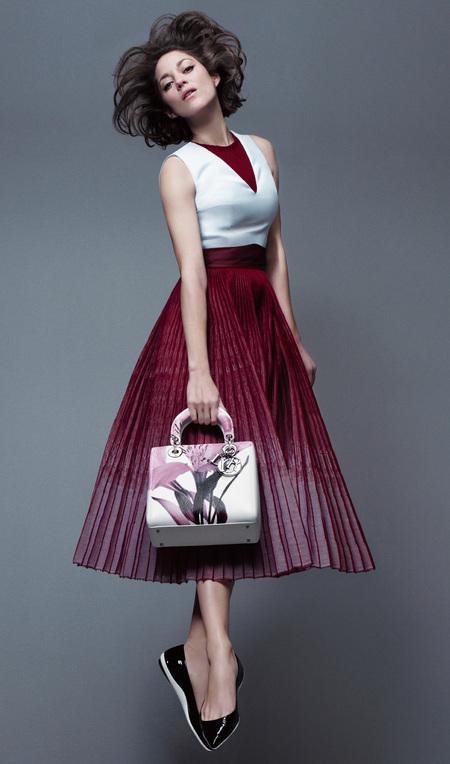 marion cotillard - lady dior handbag campaign - spring summer 2014 - purple skirt - handbag.com