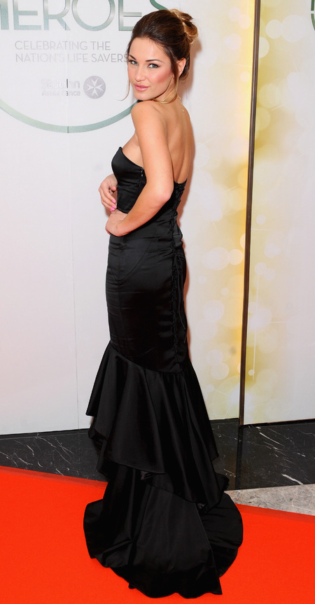 sam faiers black ballgown dress - heroes charity ball - towie style fashion - handbag.com