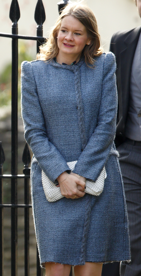 woman wears same dress as kate middleton at wedding - blue tweed coat dress - high street wedding fashion disaster - handbag.com