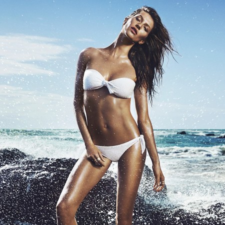 Gisele in her bikini for H&M uk's swimwear shoot - celebrity bikini photo - Gisele models bikini - swimwear pictures - shopping news - handbag.com