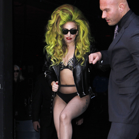 Lady Gaga back in her leather underwear - lady gaga crazy outfit - celebrity street style - celebrity outrageous outfits - telephone video - celebrity fashion news - handbag.com